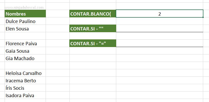 Contar Celdas Vacías en Excel funcion contar.blanco