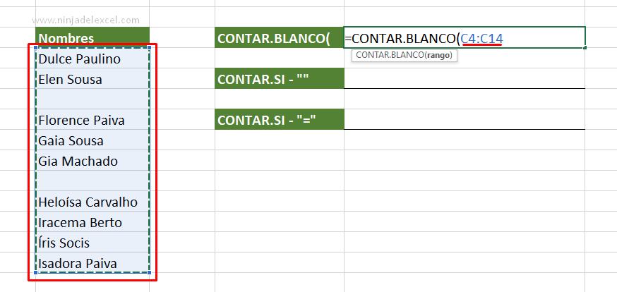 Contar Celdas Vacías en Excel paso a paso