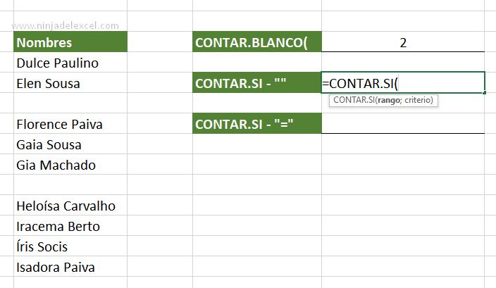 Contar Celdas Vacías en Excel en la practica