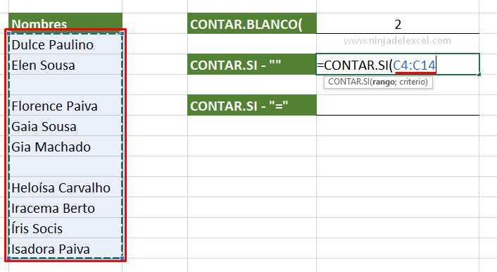 Contar Celdas Vacías en Excel funcion CONTAR.SI