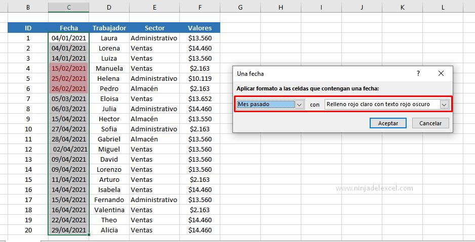 Buscar Formato Condicional de Fecha en Excel