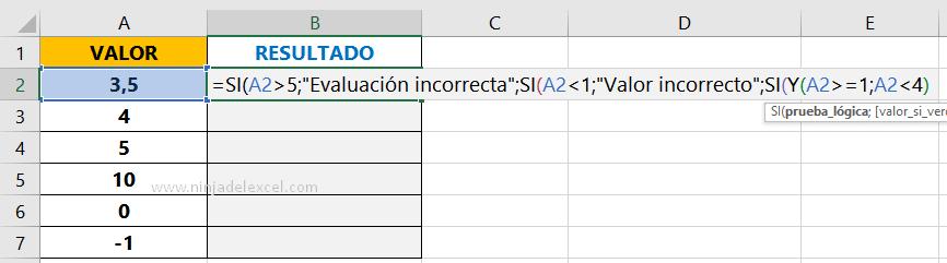 Función SI con Y en Excel paso a paso
