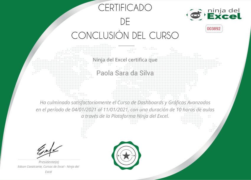 certificado curso ninja del excel