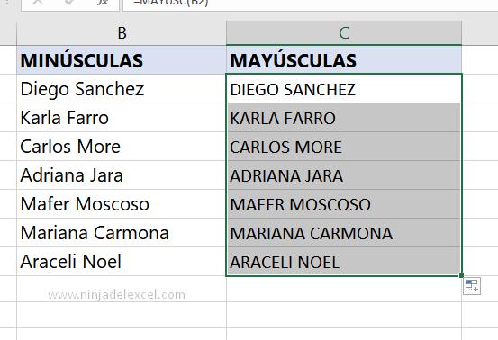 Paso a paso Letras Minúsculas en Mayúsculas en Excel