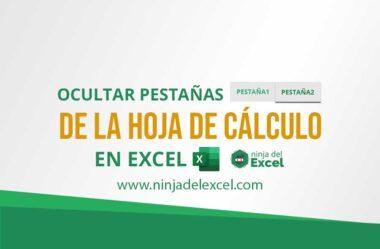 Ocultar Pestañas de la Hoja de cálculo en Excel